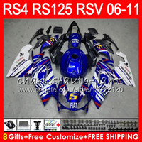 Wholesale Rs 125 - Body For Aprilia RS4 RSV125 RS125 06 07 08 09 10 11 RS125R RS-125 70HM18 TOP Blue white RSV 125 RS 125 2006 2007 2008 2009 2010 2011 Fairing