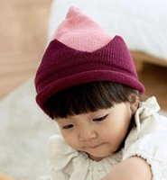 Wholesale Candy Crowns - New recommend winter children fashion candy color warm nipple wool hats designer Baby crown king ear knitting caps kids Christmas hats