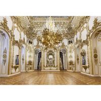 palácio do pano de fundo venda por atacado-Cenários de fotografia do candelabro do palácio de luxo ouro esculturas em parede branca casamento interior fotografar Backgrounds para estúdio