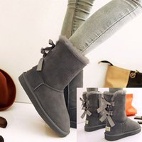 Wholesale Ladies Shoes Short Heel - Winter Snow Boots Women Bailey Bow Warm Boot New Style Xmas Australia Ladies Short Shoes Bowknot Leather Boots