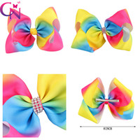 Wholesale Blue Centre - Boutique Jumbo Rainbow Hair Bow Rhinestone Centre On Alligator Clip For Kid Girl Large Hair Bow