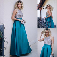 Wholesale Turquoise Sweetheart Graduation Dress - Sexy Halter Backless Turquoise Satin Prom Dresses Sparkly Sequin Beaded Floor Length Women Formal Evening Gowns Party Dresses For Graduation