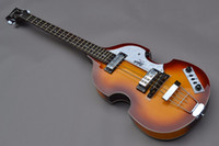 Wholesale china guitar free shipping - Wholesale- China guitar factory wholesale Brand new hofner bass 4 String Bass Sunburst color electric bass guitar free shipping 1 2