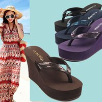 Wholesale Shoes High Platform Sequin - Wholesale-Summer New Wedges Flip Flops Sequin Shoes High-heeled Sandals Antiskid Platform Women Sandals 2015