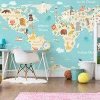 animales del mapa del mundo al por mayor-Cartoon animal mapamundi wallpaper habitación de los niños, niños y niñas, dormitorio, papel tapiz, mural mural, revestimiento de paredes, guardería, educación, educa