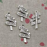 Wholesale Happiness Crafts - 65pcs Charms Jewelry signpost success money happiness 25*16mm pendant Zinc Alloy Ancient Sliver DIY Craft Necklace Bracelet Accessories
