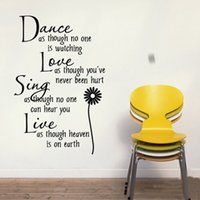 Wholesale Dance Words Wall Decals - Dance Love Sing Live Wall sticker 8034 Dance 60*40CM wall sticker DIY Decal Room Decoration HOT sale
