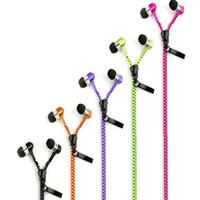 fermuar kulaklık ses toptan satış-Stereo 3.5mm Jack Bas Kulakiçi Kulaklık kulaklık kulak Metal Mic ve Ses Kulakiçi ile Zip Fermuar Samsung MP3 için