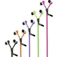 volume do fone de ouvido com zíper venda por atacado-Stereo 3.5mm Jack Bass Earbuds Fones De Ouvido fone de ouvido na orelha de Metal com Microfone e Volume Fones de Ouvido Zip Zipper para Samsung MP3