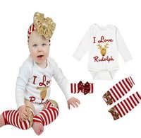 Wholesale Size Kids Legging - Children Christmas suit Newborn Baby Girls Long Sleeve Deer Romper+Leg Warmer+Headband Xmas 3pcs sets Outfits Set toddler kids Clothes A0125