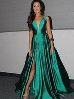 Wholesale Silk Dresse - 2017 A-Line Elastic Satin Red Carpet Evening Dresse Spaghetti Straps Long Formal Green Split Party Prom Dresses Evening Gowns