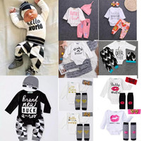 Wholesale Kids Hat Cotton - more 30 styles NEW Baby Baby Girls Christmas hollowen Outfit Kids Boy Girls 3 Pieces set T shirt + Pant + Hat Baby kids Clothing sets