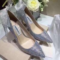 elmas beyaz düğün topuklu toptan satış-Mükemmel Gelin elmas Ipek kurdele ayak bileği kayışı düğün ayakkabı 7/9 cm yüksek topuklu ayakkabılar Gümüş elbise ayakkabı beyaz düğün sivri