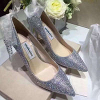 Wholesale Diamond Pearl Wedding Shoes - Perfect Bride diamond Silk ribbon ankle strap wedding shoes 7  9 cm high-heeled shoes Silver dress shoes white wedding pointed