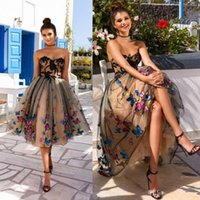 Wholesale Photo Butterflies - Stunning Knee Length Short Prom Dresses Lace Appliqued A-Line Strapless Colorful Butterfly Homecoming Dress Cocktail Dress Party Gowns