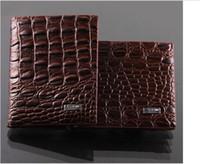 Wholesale Mens High Design Wallets - Fashion mens leather luxury wallet crocodile grain casual short design card holder money purse clips wallets for men high quality