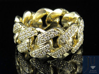 Wholesale Yellow Gold Diamond Eternity Ring - Men's 10K Yellow Gold Real Diamond Miami Cuban Eternity Ring Band 2.50CT 11MM