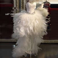 Wholesale Sequin Hi Lo Wedding Dress - Sexy Hi Lo Wedding Dresses Feathers Layers Tulle with Feathers Shining Sequins Bridal Gowns Real Pictures Top Quality