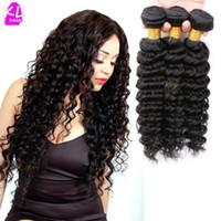 Wholesale Virgin Burmese Hair Deep Wave - Wholesale-Free Shipping Brazilian Virgin Hair Deep Wave 8A Grade Unprocessed Human Hair Deep Wave Virgin Hair Weave 3 Bundles Lot Hot Sale