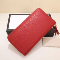 Wholesale Ladies Casual Real Leather Handbags - Hot sale Fashionable Tassel women handbag High quality real leather candy color wallet Top zipper closure luxury long purse
