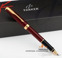 Wholesale Parker Ink Black - Free Shipping Parker Sonnet Red Gold Roller Pen Medium Nib 0.5mm Signature Ballpoint Pen Gift Writing Pen School Office Suppliers Stationery
