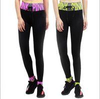 Wholesale Jeggings Girl - Pink Letter Leggings VS Pink High Waist Sports Slim Running Yoga Pants Skinny Tights Women Trousers Elastic Jeggings 10pcs OOA3328