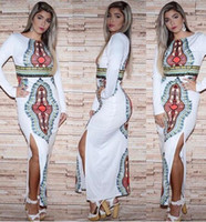 Wholesale floral bodycon midi dress - Newest African Dresses for Women Long Sleeve Bodycon Midi Dress Casual Bohemian Floral print Split Dashiki Dress Party Clubwear M-3XL