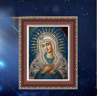 Wholesale Mary Paper - 5D Mosaic Diamond Painting Religious figures Virgin Mary Christianity DIY full Resin square Diamonds Embroidery needlework Home Decor