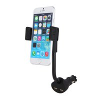 Atacado-Universal Dual USB Car Charger Montagem Cell Phone Holder Bracket Stands para iPhone 5 6 S 7 Plus Galaxy Nota 3 S4 S5 GPS