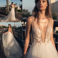 Wholesale V Neck Wedding Gown Beaded - Boho Country Style Sexy Wedding Dresses Deep V Front and Back Beaded Lace Appliqued Tulle Long Bridal Gown New Style Custom Made