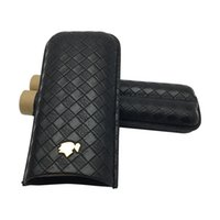 humidificateur en cuir cigare achat en gros de-Dernière version Cigar Humidor! Couleur noire Support en cuir 2 Tube Travel Cigar Case Humidor COHIBA Cigar Case Humidor