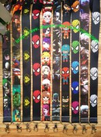Wholesale Action Business - Free shipping New 50pcs lot super hero 2 Fashion Straps Cartoon Action Mobile Phone Lanyards Keychains for business L-1129