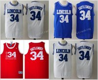 "Wholesale Game Film Movies - Hot Sale Movie Jesus Shuttlesworth Lincoln High School #34 Ray Allen Jersey 1998 Film ""He Got Game"" Jersey Blue White Red Stitched Jersey"