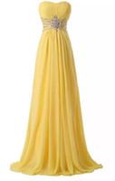 echte fotos gelb abendkleid großhandel-Gelbe einfache Art- und Weiseabend-Abschlussball-Kleider Sleeveless Taillen-wulstige A-Line Staffelungs-Heimkehr-Kleider Reale Fotos heiß