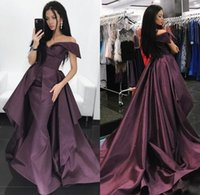 Wholesale Taffeta Mermaid Peplum Prom Dress - 2018 Stylish Overskirt Prom Dresses Long Off The Shoulder Mermaid Peplum Formal Evening Gowns Sweep Train Custom Made