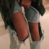 Wholesale Wholesale Imitation Socks - 2017 New Fashion Socks for Women Sparkly Mesh Fishnet Tights with Imitation Diamond Shiny Tights Pantyhose Oversized Large Stockings CK1101