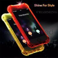 Wholesale Calling Sense Led - Luminous Called Sense LED Flash Light Clear TPU Soft Back Case For iPhone 7 s6 7 Plus Samsung s8 s8 Plus s7 s6 Edge