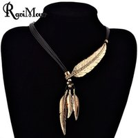 Wholesale Strand Chains Leather Necklace - Fashion Bohemian Choker PU Leather Rope Feather Statement Necklaces & Pendants Vintage Jewelry Maxi Necklace for Women Collier
