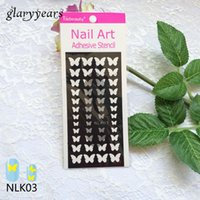 Оптово-1pc Новый аэрограф 3-Way Nail Paint Butterfly Design Nail Art Template Manicures Tip Makeup Tool NLK03 Nail Sticker Stencil Design