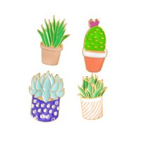 plantes d'aloès achat en gros de-Vente en gros- Cactus Plantes succulentes Aloe Vera Scindapsus Cartoon plantes en pot broche épingles Bouton Pin Denim Veste Pin Badge cadeau bijoux