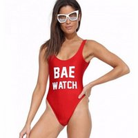 Wholesale Women Watches Colour - Bae Watch Swimsuit Letter Print One Piece Swimwear Girls Red Bodysuit Backless Beachwear For Women Free Shipping
