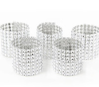 Wholesale Diamond Buckles For Decoration - Wholesale- 20pcs 8 Rows Silver Diamond Mesh Wrap Napkin Ring Serviette Buckle Holder For Wedding Party Table Decoration