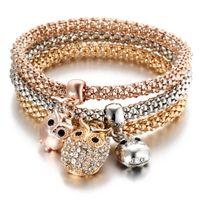 Wholesale Rhinestone Crystal Elastic Bracelet - Owl Rhinestone Crystal Charm Bracelet 3Pcs in one Sets Bracelets 3 Color Beauty Elastic Chain Casual Pendant Bracelets