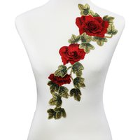 Wholesale 3d Clothing Patch - 1piece 3D Red Rose Applique Embroidery Flower Patches Lace Fabric Motif Venice Clothes Decorated Sewing Supplies rendas T2001