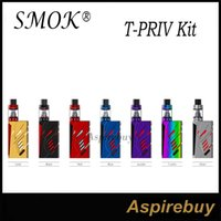 Wholesale Led Multi Color Kit - SMOK T-Priv Kit 220W T-Priv Mod with 5ML TFV8 Big Baby Tank 9-Color Modes Customization LED Multiple Protections 100% Original