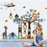 Wholesale Blue Tree Wall Decals - Creative 3D DIY wall sticker horse for kids room Carved Removable kindergarten stickers cute Owl Monkey Tree pvc Decorating 2017 Wholesale