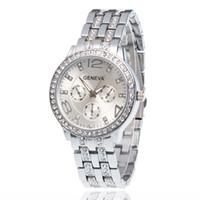 Wholesale Titanium Dress Watches - Wristwatches Fashion Men's Watches Business Quartz Watch Geneva Diamond Steel Watches Personality Casual Fashion Dress Watches Relogio W0120