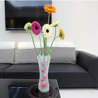 ingrosso vaso pieghevole eco friendly-Eco-friendly Unbreakable riutilizzabile pieghevole in plastica Flower Vase creativa pieghevole vaso magico del PVC 12cm * 27 centimetri colore della miscela di Home Decor