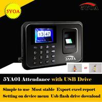 reloj de asistencia de tiempo al por mayor-Al por mayor-con usb drive flash Biométrico Fingerprint Time Clock Recorder Asistencia Empleado Machine Punch Card ID Reader System