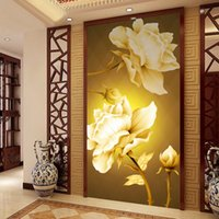 Wholesale Continental Painting - Wholesale-photo wallpaper flash silver cloth Entrance hallway wall painting backdrop Continental Golden Rose large mural wallpaper